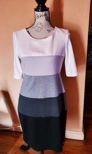 Cream, black and grey dress
